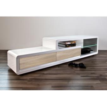 Meuble TV design Alice II laqué blanc/bois à Led 180 cm - Meuble TV ...