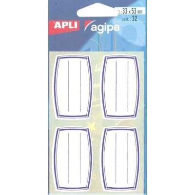 Agipa etiquettes livre et cahier blanches bleues, lignées pack de 32 41337