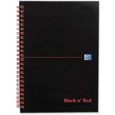 Black n' Red Réf. F66078 Lot de 5 cahiers Papier Ligné et perforé Reliure intégrale 140 pages 90 g/m² Noir mat A5