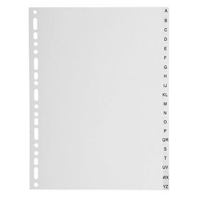 Intercalaires alphabet A-Z polypro. 130 mic gris