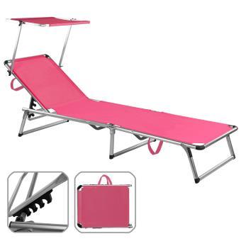 Chaise longue de jardin rose en aluminium avec parasol réglable ...