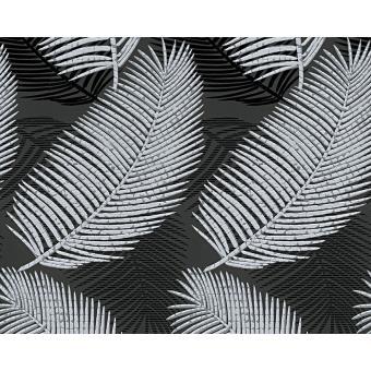 Papier Peint Exp Palme Noir Argent Lot De 12 Decoration Des Murs