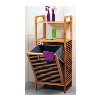 meuble de rangement avec tag res et panier linge int gr bambou achat prix fnac. Black Bedroom Furniture Sets. Home Design Ideas