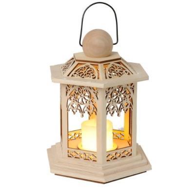 star 270-37 german christmas lanterne en bois à piles led vacillante naturel 20 x 14 cm