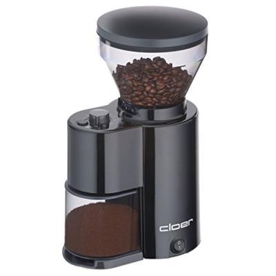 Cloer 7520 moulin à café électrique avec broyeur conique pour 2-12 tasses et 300 g grains de café, 150 w, mouture réglable, noir
