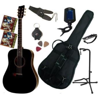 pack guitare acoustique folk gaucher noire 9 accessoires guitare folk top prix fnac. Black Bedroom Furniture Sets. Home Design Ideas