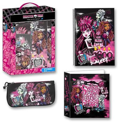 Monster High - Set 3 pièces - Trousse, Classeur et Cahier à Spirales - Collection \