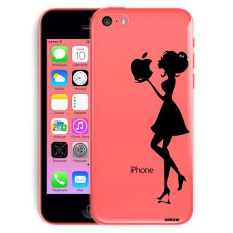 Coque pour iPhone 5C rigide transparente Silhouette Femme Ecriture Tendance et Design Evetane