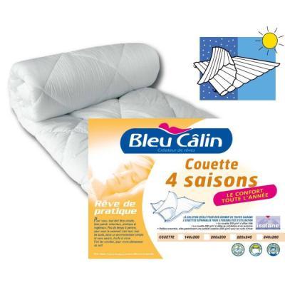 BLEU CALIN Couette Microfibre 4 Saisons 240x260cm