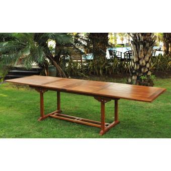 Salon de jardin Teck huilé 12/14 pers. - Table rectangle Plateau XL ...