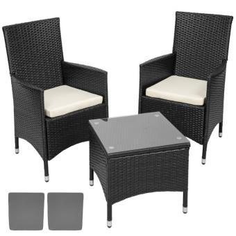 Salon de jardin en poly-rotin, aluminium, 2 chaises et table, noir ...