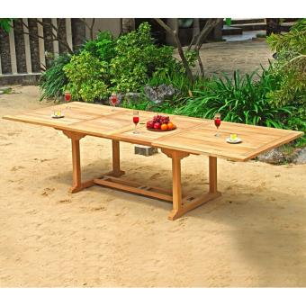 Table de jardin XXL en teck brut - double rallonge papillon ...