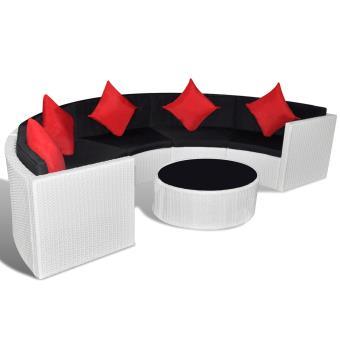 vidaXL Salon de jardin demi-rond en polyrotin blanc - Mobilier de ...