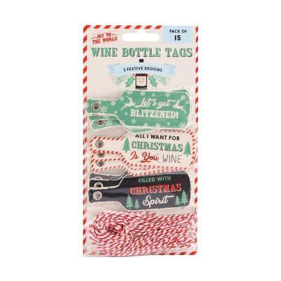 Joy To The World - Étiquettes festives pour bouteilles de vin (Lot de 15) (Taille unique) (Multicolore) - UTCB1989