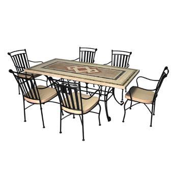 Salon de jardin 6 chaises + 1 table, ensemble de jardin avec ...