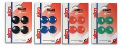 Blister 4 aimants ronds 32mm coloris assortis