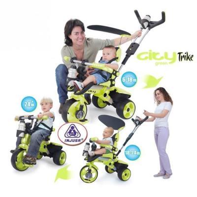 Tricycle vert livré avec : Pare soleil, canne directionnelle réglable, pédales ergonomique et antidérapantes, porte bidon, roue libre, benne arriere et ceinture de sécurité.