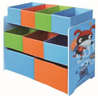 Meuble de rangement pour enfant bleu motif super heros l 92 x p 30 x h 60 cm pegane coffre - Meuble de rangement pour jouet ...