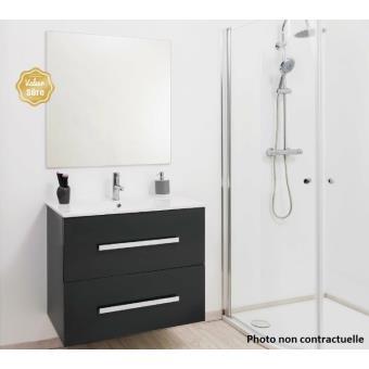 aqua meuble salle de bain gris anthracite suspendre 120cm nuevo installations salles de bain achat prix fnac