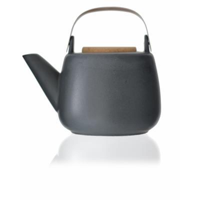 Viva Scandinavia (V36103) Théière en porcelaine avec poignée, infuseur en acier inoxydable, bec anti-gouttes, thé en vrac, thé à feuilles - Noir - 1,2l