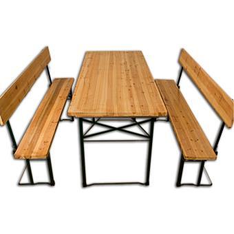 Table pliable et 2x bancs avec dossier Salon jardin meuble terrasse ...