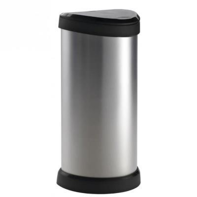 Poubelle 40 L plastique Touch, aspect métal