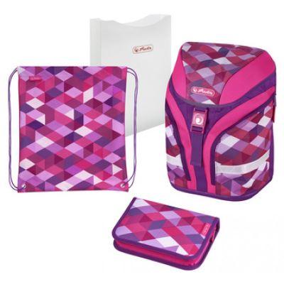 herlitz herlitz cartable motion plus pink cubes noir