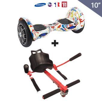 pack hoverboard 10 pouces avec hoverkart rouge tout terrain gyropode skateboard lectrique. Black Bedroom Furniture Sets. Home Design Ideas