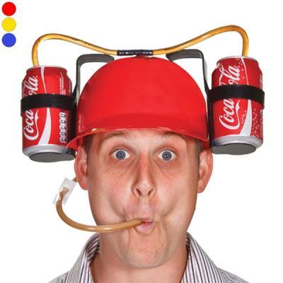 Casque à boire avec paille et double support à bouteilles boissons rouge