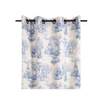 rideau tamisant oeillets 100 coton motif toile de jouy 135x250cm galanterie bleu achat. Black Bedroom Furniture Sets. Home Design Ideas