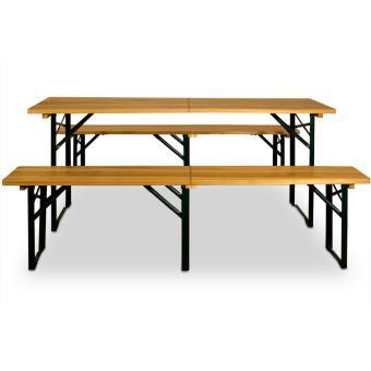Ensemble Table Et Bancs Pliable En Bois 220 Cm Pour Jardin