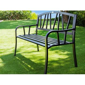 banc de jardin en m tal alvernia noir hesperide mobilier de jardin achat prix fnac. Black Bedroom Furniture Sets. Home Design Ideas