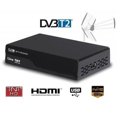 Le modèle LIVE TNT 2000 est un Démodulateur/Récepteur Terrestre TNT DVB-T2 qui vous permet de lire toutes les chaînes en HD disponibles depuis votre antenne locale. Il réceptionne les chaînes de la TNT en HD. Le décodeur LIVE TNT 2000 vous est proposé en