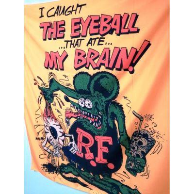 grand drapeau rat fink beige eyeball my brain 150x130cm flag ed roth kustom kulture rare