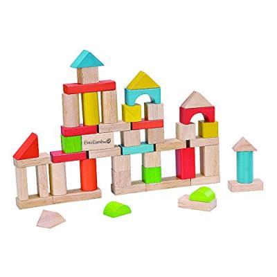 Everearth - ee32569 - jouet de premier age - seau de 50 cubes en bois - couvercle jeu assemblage