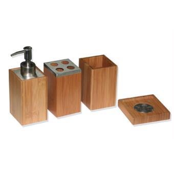 Set de 4 accessoires pour salle de bain - Bambou et inox - Achat ...
