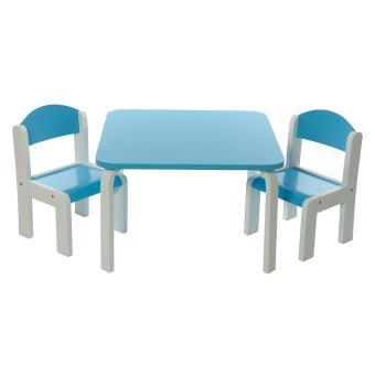 Ensemble table et chaises enfant bleue en bois fabio momo - Table et chaise enfant bois ...