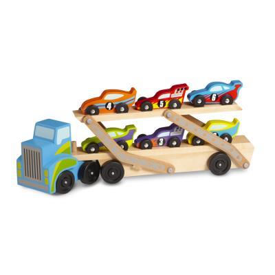 Camion transporteur de voitures de courses en bois Baptiste