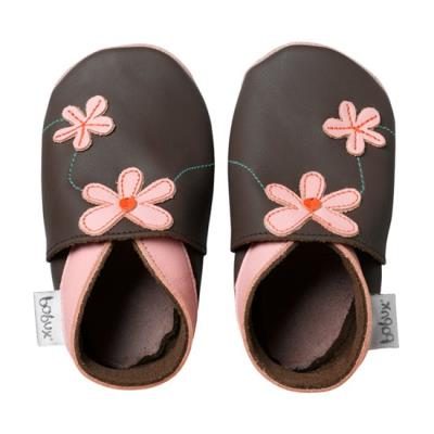 Chaussons bobux chocolat fleurs roses small 3-9 mois