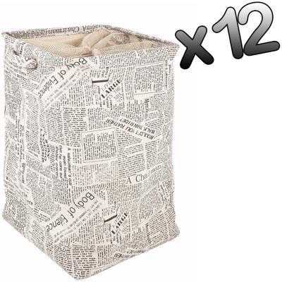 Lot de 12 sacs à linge en tissu canva Coloris Noir-blanc, L36 x P36 x H56 cm -PEGANE-