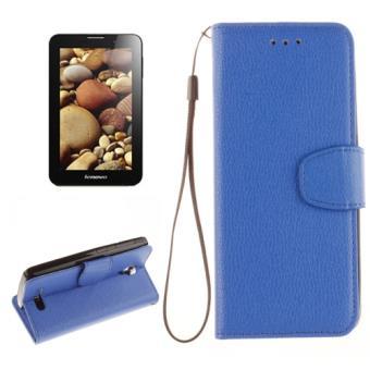 Lenovo A1000 Housse Etui Cuir PU Bleu Texture Litchi