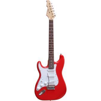guitare electrique strato rouge pour gaucher avec vibrato et c ble guitare lectrique top prix. Black Bedroom Furniture Sets. Home Design Ideas