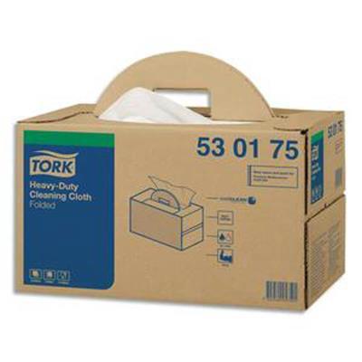 Boîte distributrice de 120 Chiffons de nettoyage Ultra Résistant pliés - Format : 64 x 38 cm blanc