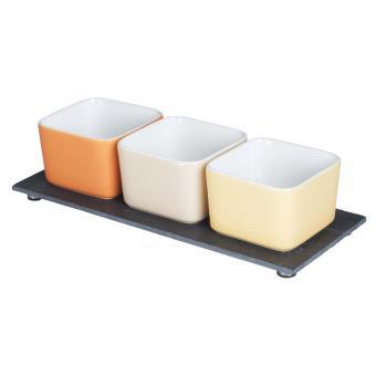 Table Passion - Service Aperitif 3 Ramequins Carre 8.5 Cm Sur ...