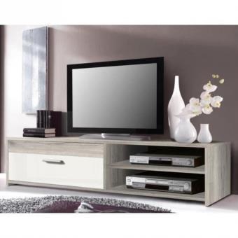 Katso meuble tv 120 cm chene blanc brillant Achat & prix