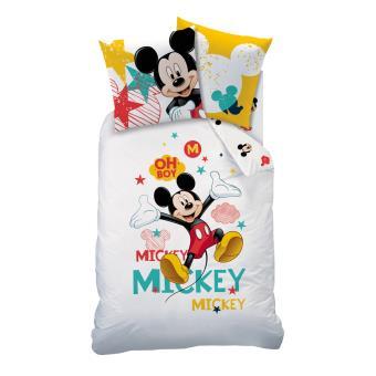 housse de couette 1 place 1 taie d 39 oreiller mickey mouse 100 coton achat prix fnac. Black Bedroom Furniture Sets. Home Design Ideas