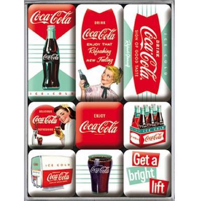Boite de 9 mini-magnets Coca-Cola