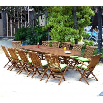 ensemble de jardin table 200-300 cm 12 places teck huilé ...