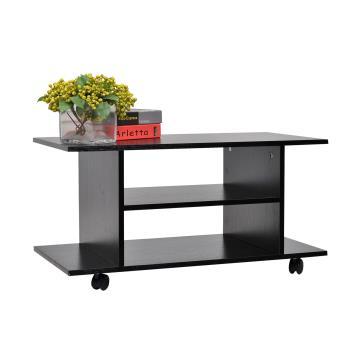 14 90 sur meuble tv bas table basse roulettes en panneaux de particules noir homcom. Black Bedroom Furniture Sets. Home Design Ideas