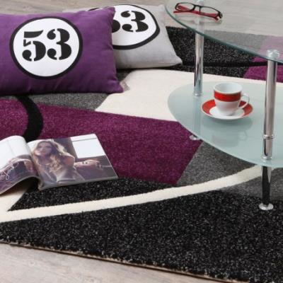 FINLANDEK Tapis de salon Loimaa 160x230 cm gris et violet - Achat ...